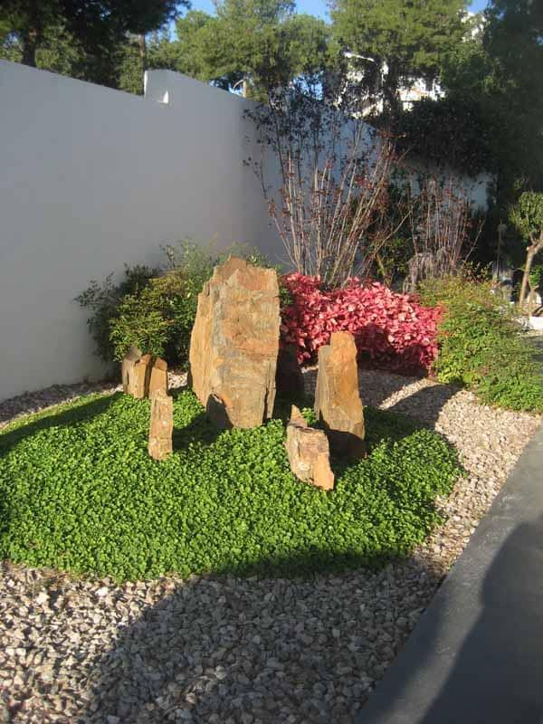 Detalles del acceso: jardín de rocas .
