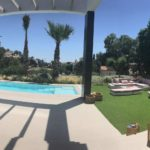 view of the pool from the porch