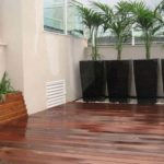 Custom made wooden planters with floating platform on Chinese ornamental