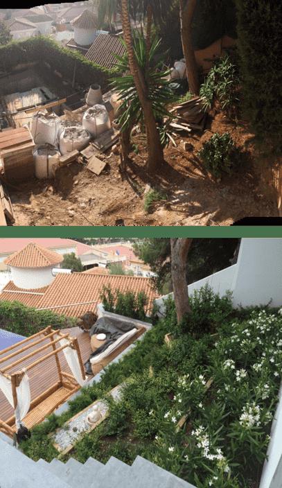 Antes y después talud villa buda