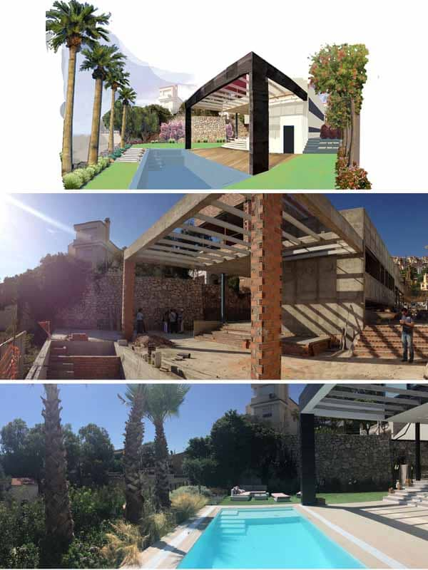Before and after Villa Mai
